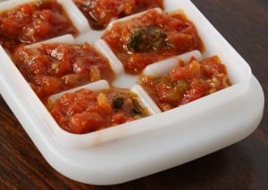 Home made sofrito ready to be frozen in an ice cube tray