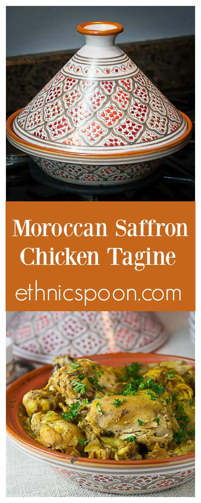 Morocccan saffron chicken is a really exotic yet easy one pot meal that can be made in a tagine or slow cooker.   ethnicspoon.com
