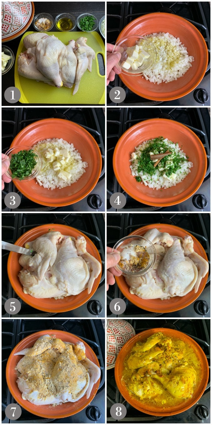 A collage of photos showing the steps to make Moroccan saffron chicken in a tagine dish.