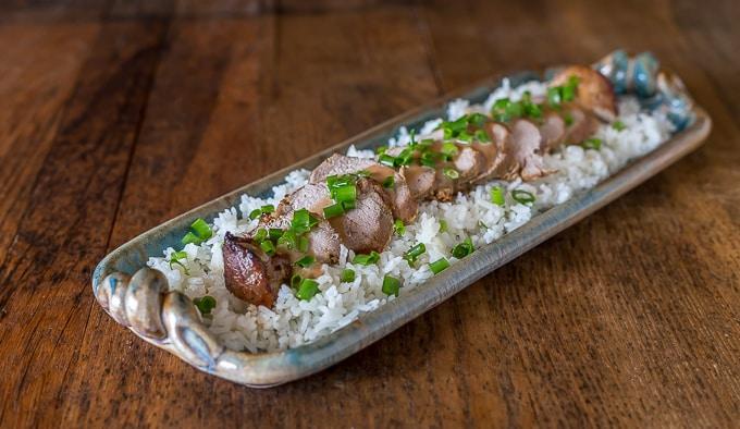 Thai pork loin with peanut sauce
