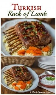 Turkish style rack of lamb with a tangy mint yogurt.