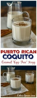 """Puerto Rican style """"egg-free"""" egg nogg with coconut milk and rum.   ethnicspoon.com"""