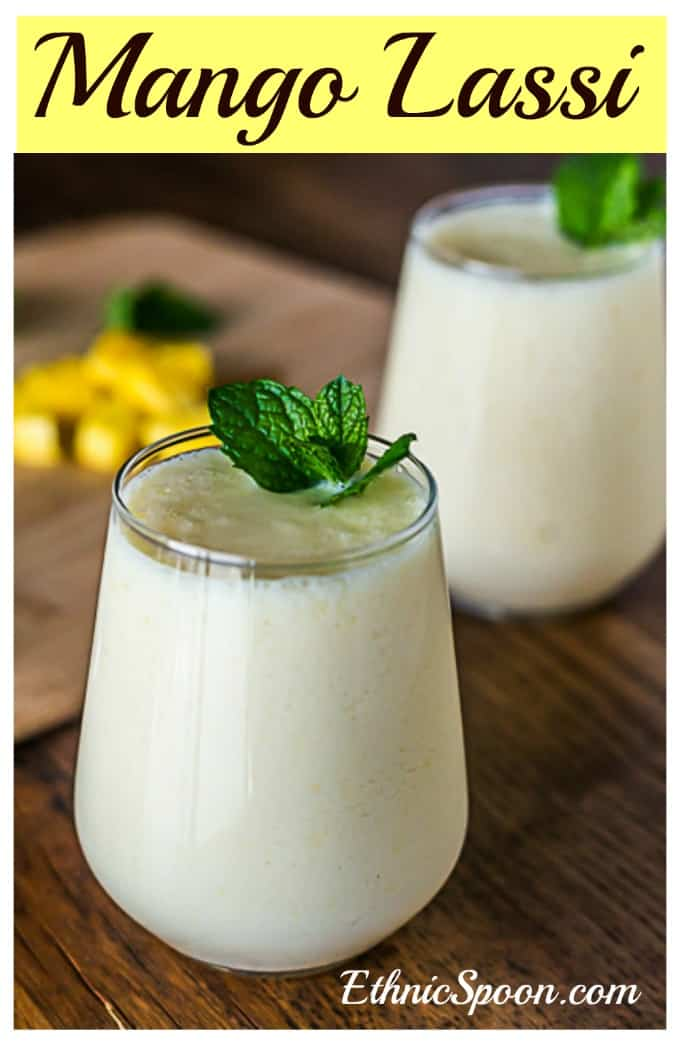 Delicious mango lassi made with buttermilk and honey. | ethnicspoon.com