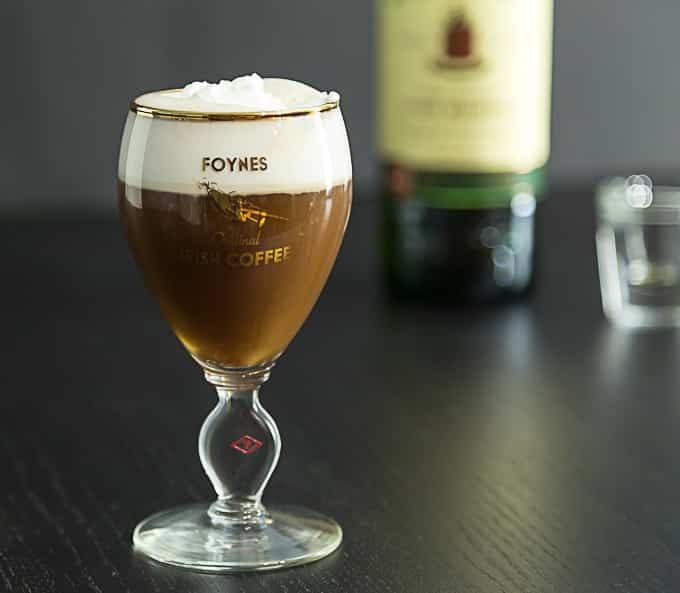 Irish coffee in the original recipe glass from Foynes, Ireland ...