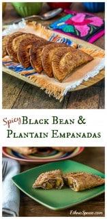 Spicy black bean and plantain empanadas. Crunchy and creamy with some kick! | ethnicspoon.com #tapas #blackbeans #latinfood