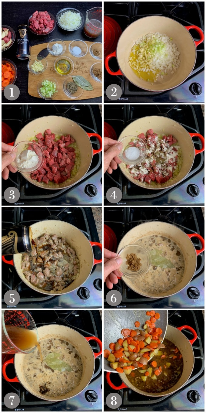 A collage of photos showing steps to make Guinness beef stew with a red stock pot.