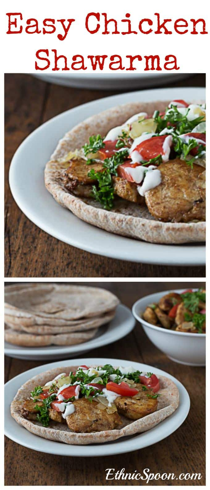Here is a non-grilled version of chicken shawarma. A super easy Middle Eastern dish with lots of unique flavors. | ethnicspoon.com