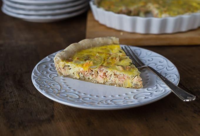 Salmon quiche with tarragon and shallots. | ethnicspoon.com