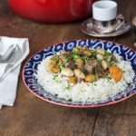 Turkish lamb stew with almonds, apricots and rose water | ethnicspoon.com