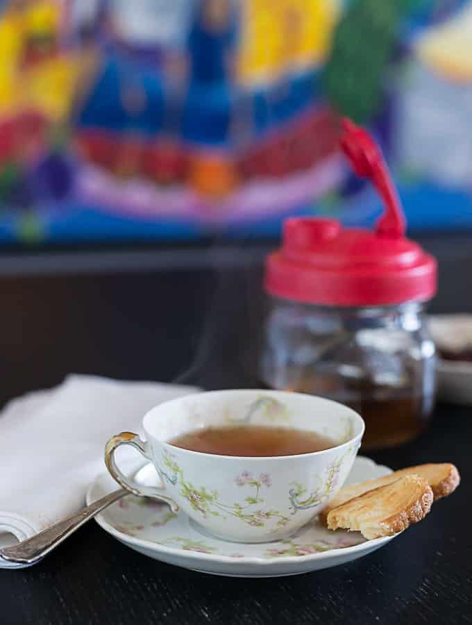 Rose hips tea with biscuit and reCAP flip cap | ethnicspoon.com