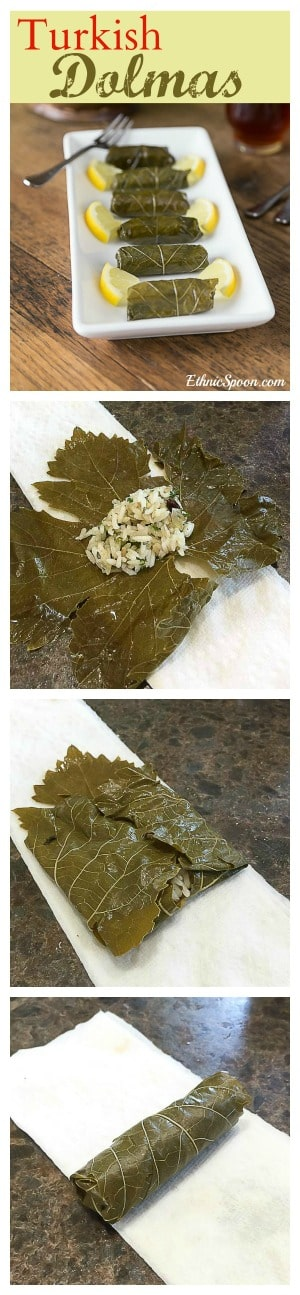 Turkish style dolmas and how to roll them before steaming.   ethnicspoon.com