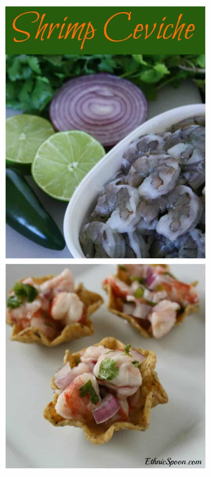 Shrimp ceviche recipe: A Latin American citrus marinated dish made with seafood. | ethnicspoon.com