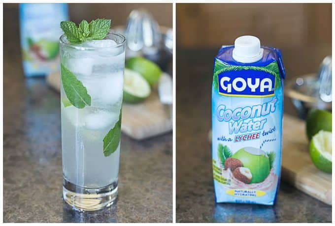 coconut mojito in a glass and a container of goya coconut water on the right