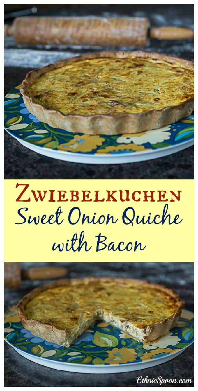 A simple German recipe for zwiebelkuchen or sweet onion quiche with bacon.