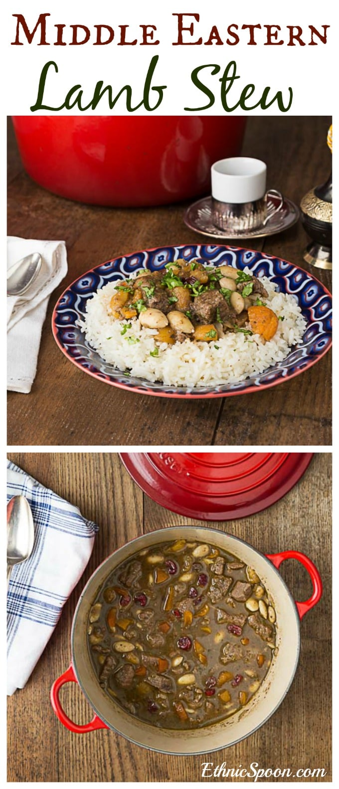 Middle Eastern style lamb stew with dried apricots, almonds and lightly infused with rosewater. A delicious combination of sweet and savory. | ethnicspoon.com
