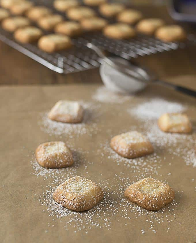 shortbread cookies freshly dusted with powdered sugar