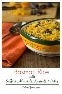 Sweet and savory basmati rice with almonds, apricots dates and sazon with saffron. A super simple dish with fantastic flavors! | ethnicspoon.com