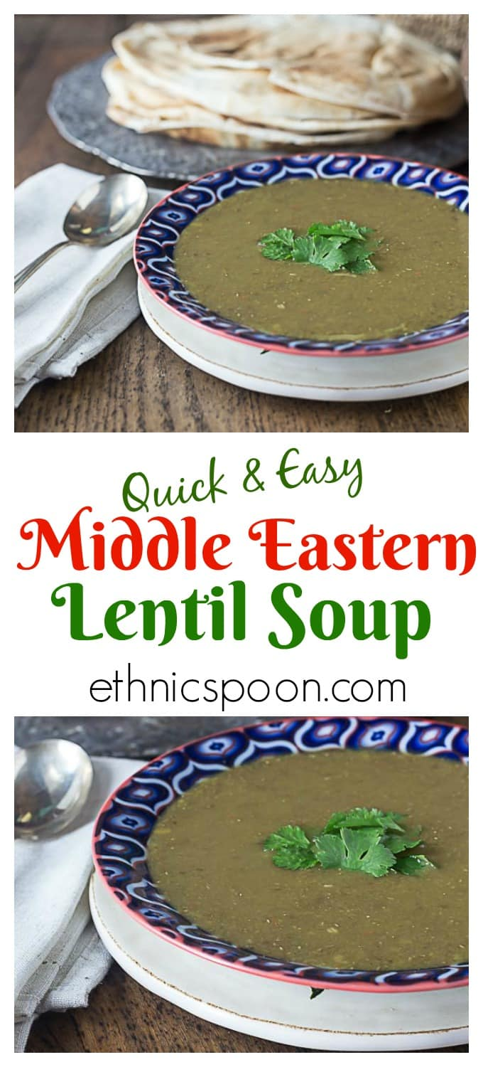 Healthy and full of flavor! Middle Eastern lentil soup brings bold flavors with a very easy and gluten free recipe. | This is my favorite soup to order when I eat at Middle Eastern restaurants! | ethnicspoon.com