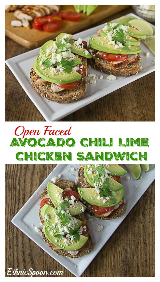 Try a Latin style open face sandwich. Layer some chili lime chicken with avocado, tomatoes and queso fresco for a healthy lunch or dinner! #VidaAguacate #ad | ethnicspoon.com