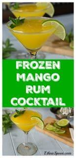 Best the summer heat with a frozen mango rum cocktail with mint! Sweet, tart and delicious! | ethnicspoon.com