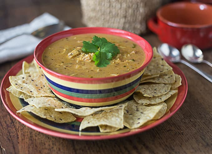 One of my favorite Mexican style soups. This is a super simple bowl of comfort food! Creamy chicken tortilla soup is cheesy, spicy and smooth to warm you on a cold day! | ethnicspoon.com