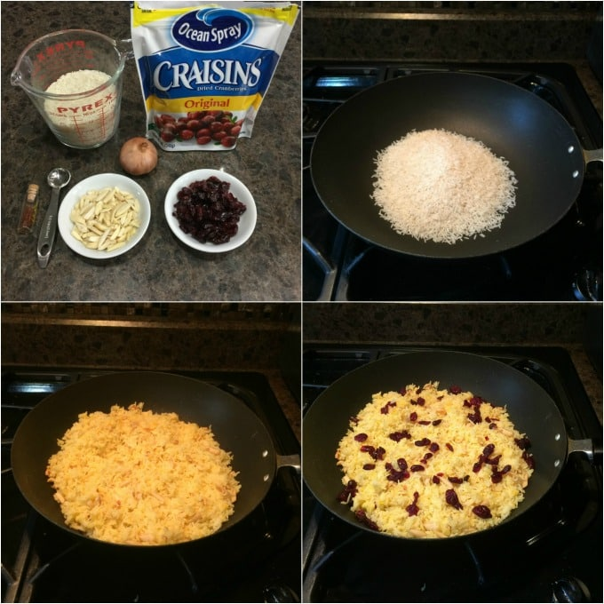 steps for making saffron rice with cranberries
