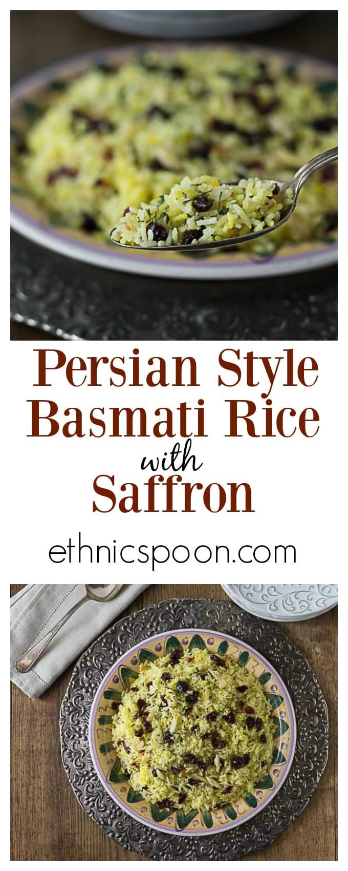 This delicious Persian style saffron rice with almonds and dried cranberries brings a contrast of flavors and textures. Light and fluffy basmati rice cooked to perfection with some crunchy almond and tangy Craisins. #BetterWithCraisins ad | ethnicspoon.com