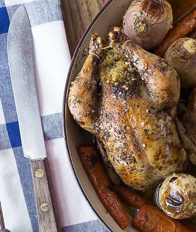 You will love the simple and delicious dish! Tender and delicious Tyson® All Natural Premium Cornish Hens stuffed with couscous, dates, onions and parsley. So easy to make, roast right in your oven! #CheersToAPerfectPair ad |ethnicspoon.com