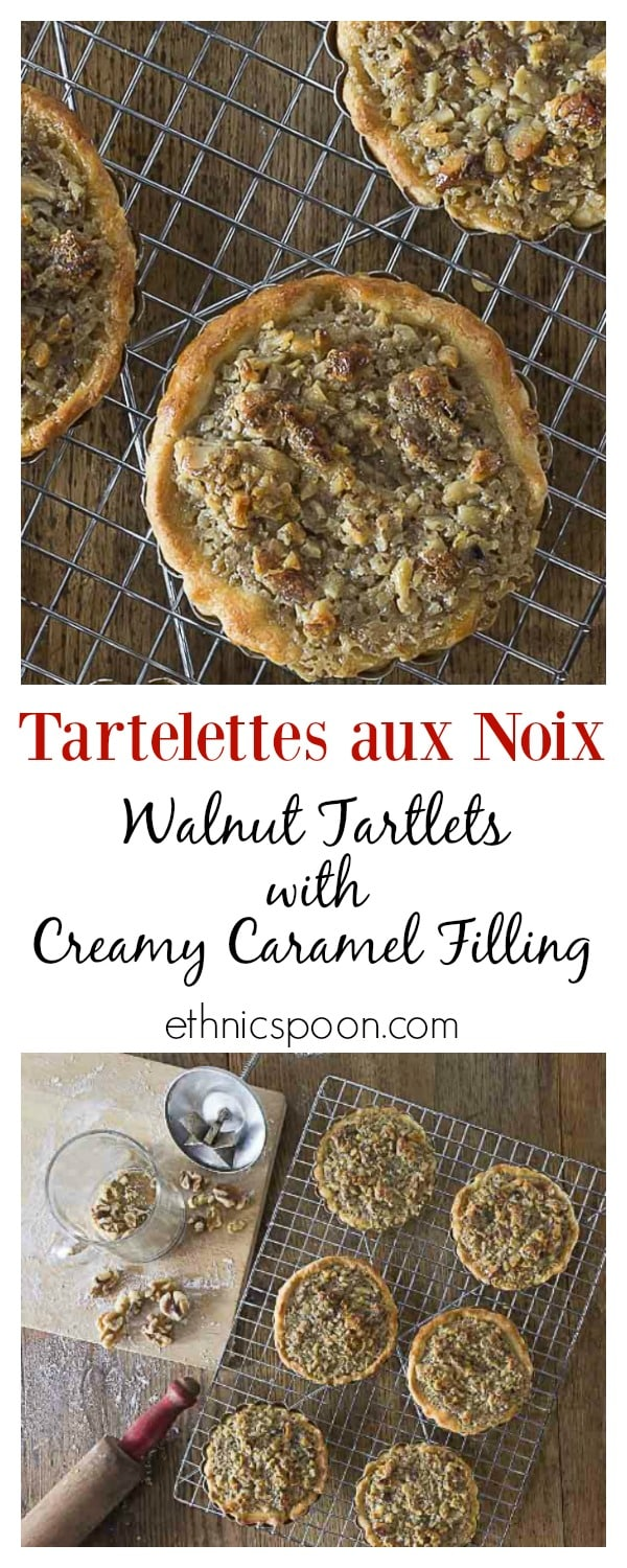 You will love these Tartelettes au Noix! French walnut tartlets are crunchy with a creamy caramelized filling with a hint of orange and similar to pecan pie. | ethnicspoon.com