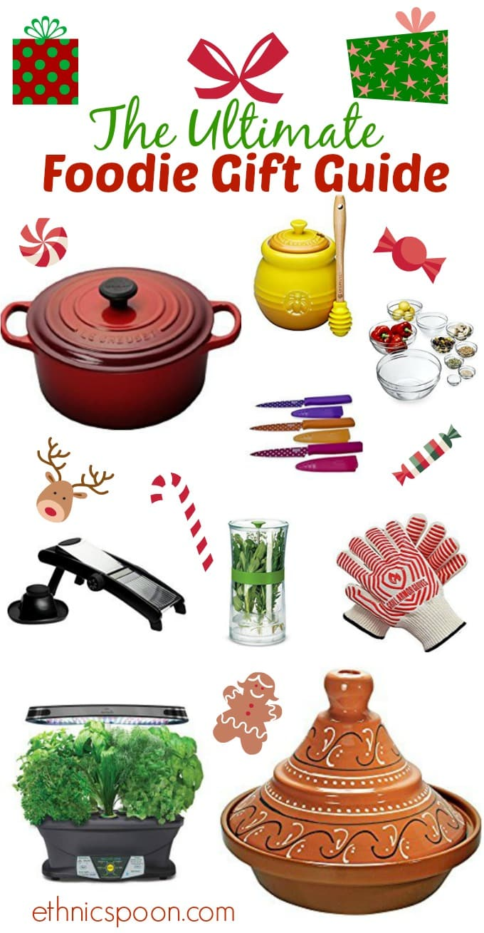 Checkout my foodie gift guide with a little something for the foodies in your life. I think you will love some of these great items from onion googles, to herb growing kits. | ethnicspoon.com