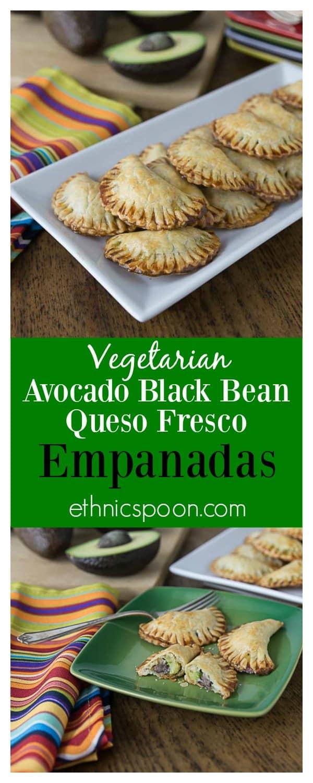 Delicious vegetarian empanadas with avocado, black beans and queso fresco. A nice crunchy Latin pastry with creamy avocado filling! Que Rico! #VidaAguacate #TusFiestas   ethnicspoon.com