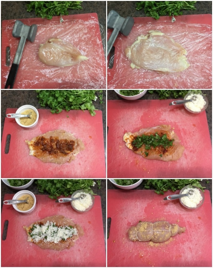 Steps to prepare chipotle stuffed chicken breasts: pound breast flat, add chipotle peppers, cilantro, queso fresco and tie. | ethnicspoon.com