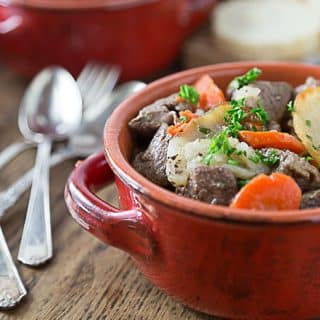 Baeckeoffe : A tender and delicious oven baked French beef casserole stew from the Alsace region. Beef and potatoes cook to tender perfection. You will love this on a cold winter night! | ethnicspoon.com