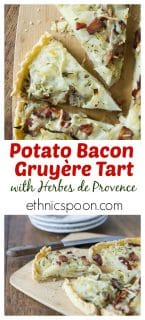 You'll love this tasty potato, bacon & gruyere tart! A lovely savory cheesy tart with sweet onions, salty bacon and a nice hint of herbs with my own special blend of herbes de provence. | ethnicspoon.com