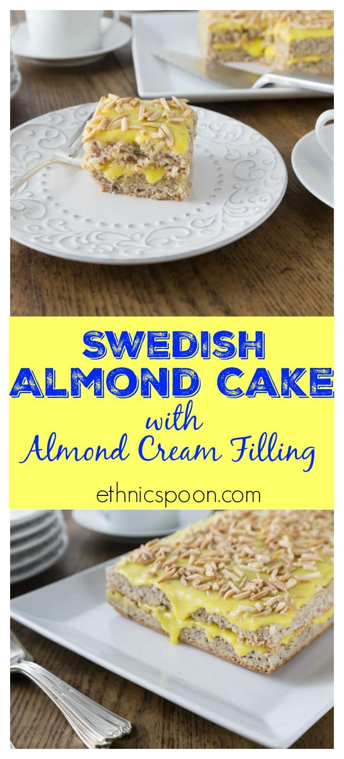 Light and airy Swedish almond cake makes a wonderful dessert your family will love! A nice meringue is folded into ground almonds and flour. Once it is baked you add a creamy almond custard like filling and topping. This is a great from scratch cake recipe. | ethnicspoon.com