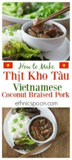 Tender and delicious morsels of pork braised in coconut sauce. You will love Thit Kho Tau a traditional Vietnamese dish that is a popular for the Tet holiday and so easy to make! | ethnicspoon.com