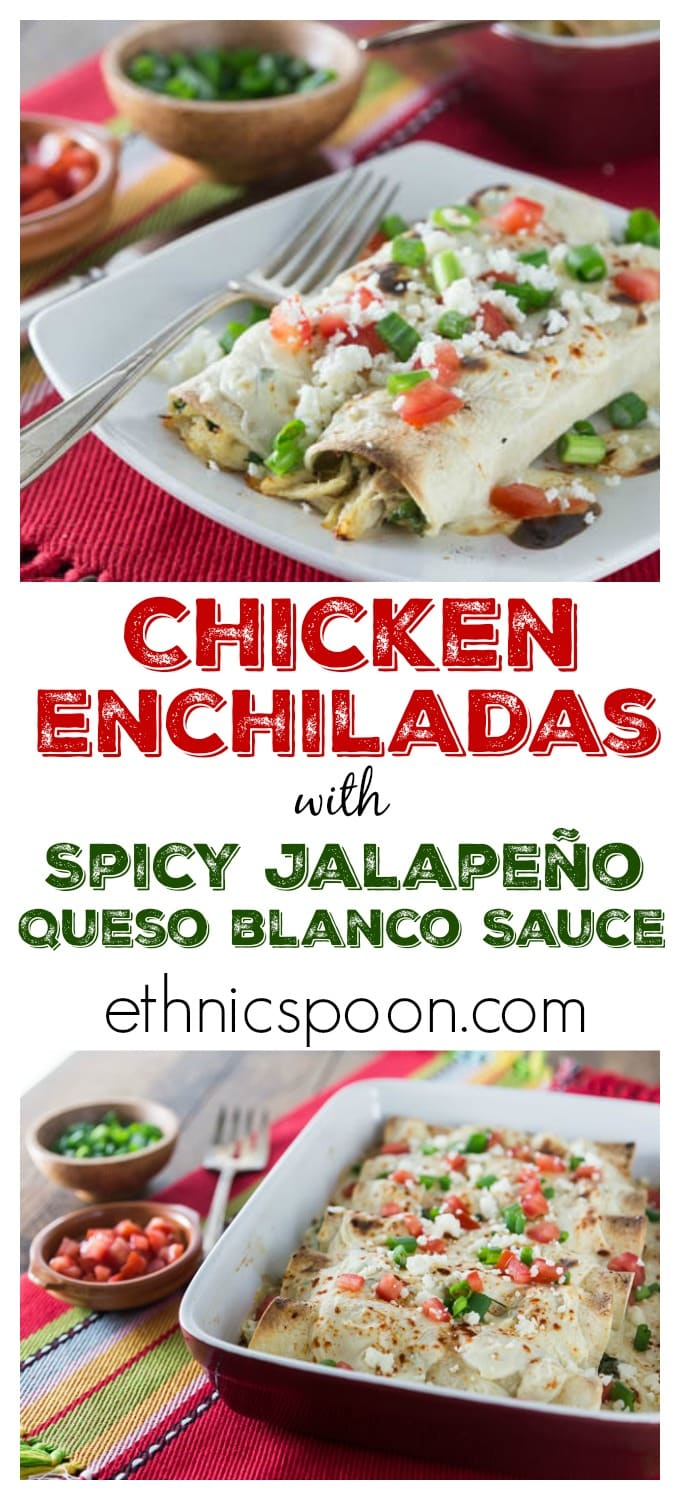 Need an easy weeknight meal? Try these easy chicken enchiladas with spicy jalapeno white queso sauce! I love spicy cheese sauce! Que rico! You can make these ahead of time and freeze. Pop it in the oven and it's ready in about 30 minutes. Bonus! | ethnicspoon.com #sponsored