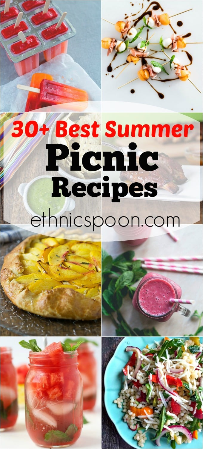 Here are 30+ great summer picnic recipes in a whole variety of flavors. We have some drinks, salads, BBQ ribs, salsas, smoothie, popsicles, hot dog sauce, BBQ sauce, shish kabobs, summer soup and some tasty desserts. | ethnicspoon.com