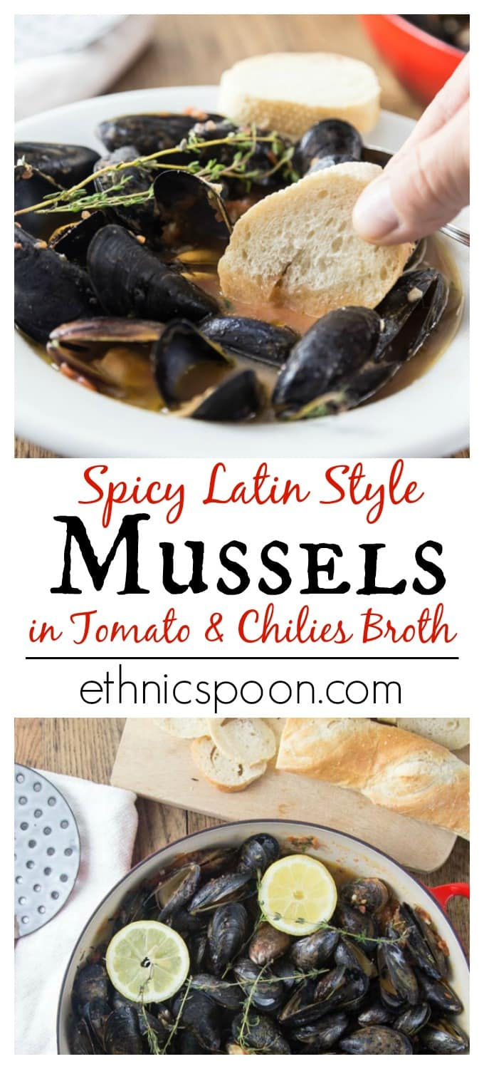 Grab some crusty bread and dip into this spicy sauce! Tender and tasty mussels in a spicy tomato broth will rock your tastebuds! This recipe comes together really quick too! You will be soaking up every drop! The secret ingredient: spicy RO*TEL tomatoes and chiles to kick it up a notch! So tasty! @roteltomates @walmart #31DaysWithRotel #ad