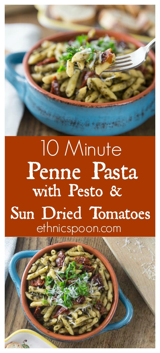 Tasty sun dried tomatoes in pesto sauce made with Barilla Ready Pasta. Here is a quick weeknight meal that is ready in 10 minutes or less. So good! | ethnicspoon.com #ReadyPasta #ad