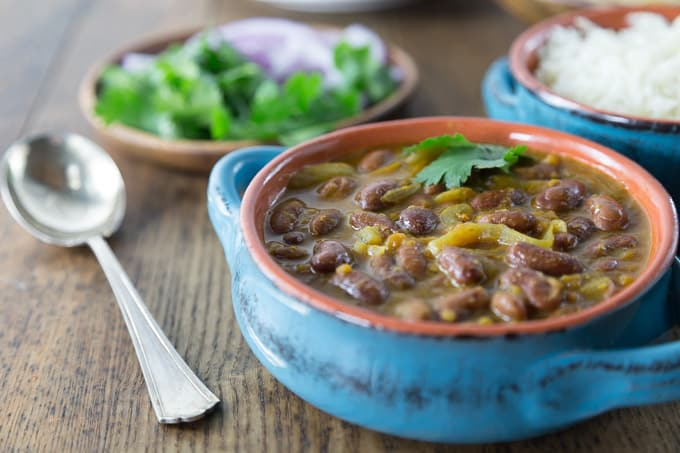 A hearty vegan dish of rajma from Saffron Fix. This dish comes from the northern Punjab region of India | ethnicspoon.com
