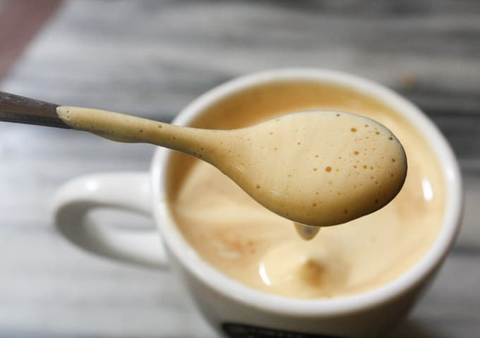 A true Hanoi tradition you can make at home. Vietnamese egg coffee or cà phê trung is a rich silky smooth sweet treat you are going to love! | ethnicspoon.com