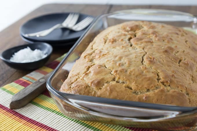 Jamaican Toto is a popular Caribbean coconut cake that is a simple and delicious spice cake that dates back to colonial times. The batter is super easy to make and produces a sweet cake that needs no frosting. | ethnicspoon.com