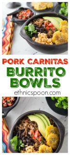 I love burritos! Some of the best Mexican food is so easy to make at home. Slow cooked authentic Mexican pork carnitas burrito bowls is what I am making today. The smell is filling my house and I am getting HUNGRY. Mexican pork carnitas are really the first cousin to pulled pork, a USA favorite. Slow cooker tender and delicious with a nice crispy finish! You will love these authentic Mexican pork carnitas burrito bowls ! Super easy to make in the slow cooker and then crisp up in the oven. Add some pico de gallo, some fried green plantain, avocado and some black beans.   ethnicspoon.com