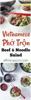 You will love this cool salad with authentic Vietnamese flavors! Vietnamese Beef Noodle Salad (Phở Trộn) is a delicious recipe for noodle salad mostly eaten during the hot summers in Hanoi or anywhere when you need a cool dish for lunch or dinner. This has some of the best Vietnamese contrast of flavors: salty, tangy, sweet, butter and some hot chillies for some heat too! Try some Pho Tron! So Good! | ethnicspoon.com