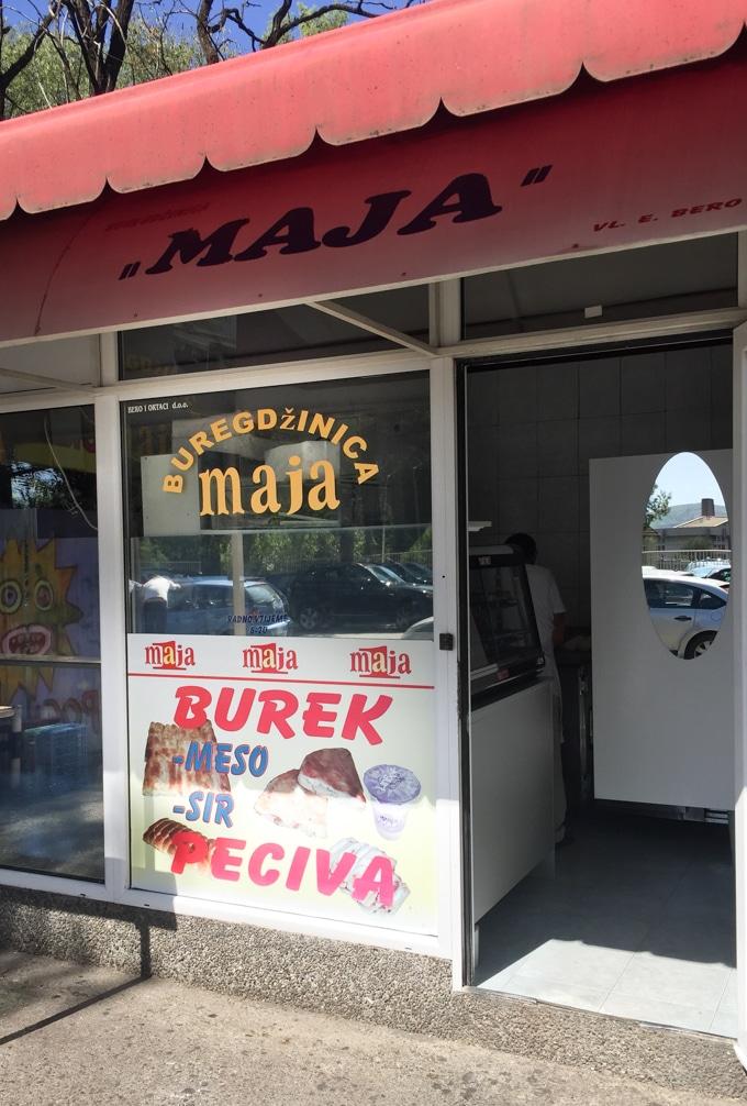 A typical burek shop in Montenegro.