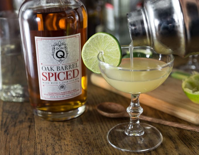 Fresh citrus is one of my favorite ingredients in a cocktail. You will love the subtle flavors in this classic Hemingway Daiquiri made with Don Q Spiced Rum. This is crisp and refreshing so shake one up and enjoy! | ethnicspoon.com