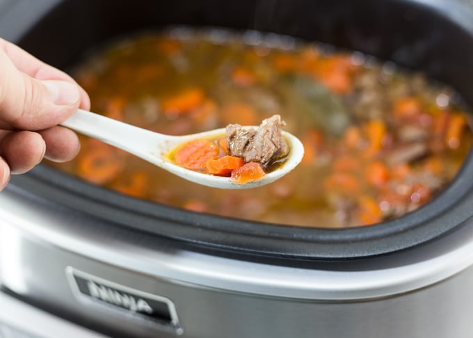 a spoonful of Vietnamese beef stew in front of a ninja cooker