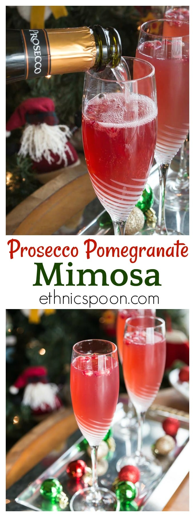 Here is a great brunch cocktail you will love! Try a crisp and refreshing prosecco pomegranate mimosa! Sparkling bubbly prosecco with a splash of tang pomegranate is a tasty combination for this libation. #prosecco #mimosa #cocktail #pomegranate #sparklingcocktail | ethnicspoon.com