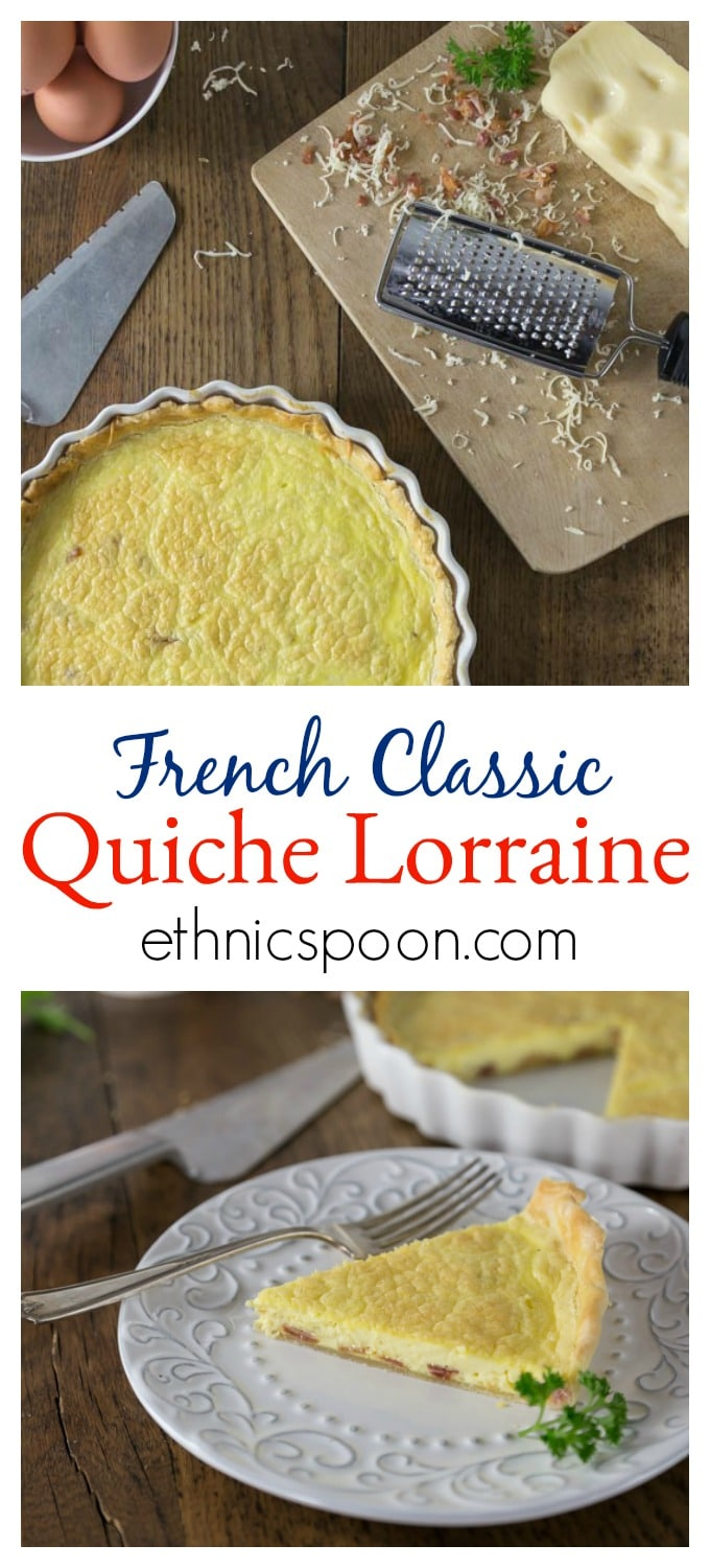 Creamy, rich and delicious! Quiche Lorraine is from the North East region of France which borders, Belgium, Germany and Luxembourg. This is a dish for all meals: breakfast, brunch, lunch or dinner. This has such a rich custard like texture with a salty cheese and bacon flavors what is not to love! Simple ingredients of eggs, bacon, cream and cheese that come together in a crispy crust. Quiche Lorraine is a slice of goodness and you will love the flavor! #quiche #frenchfood #quichelorraine #brunch | ethnicspoon.com